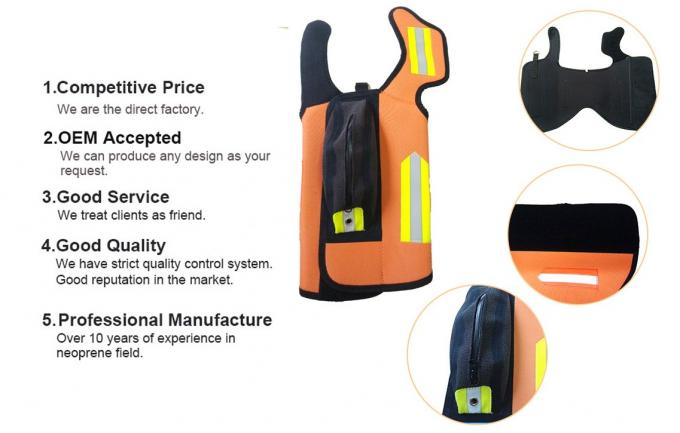 Durable Orange 5mm Neoprene Dog Coats Winter Anti Cutting Strong Support