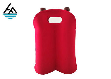 China Waterproof Neoprene 2 Bottle Wine Tote , Red Double Wine Cooler Bag factory